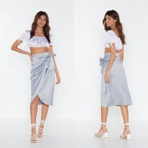 Nasty Gal Satin Wrap Skirt